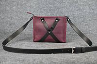 Кожаная женская сумка Крестик кросс-боди   Винтажный Бордо, фото 1