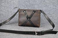 Кожаная женская сумка Крестик кросс-боди | Винтажный Кофе, фото 1