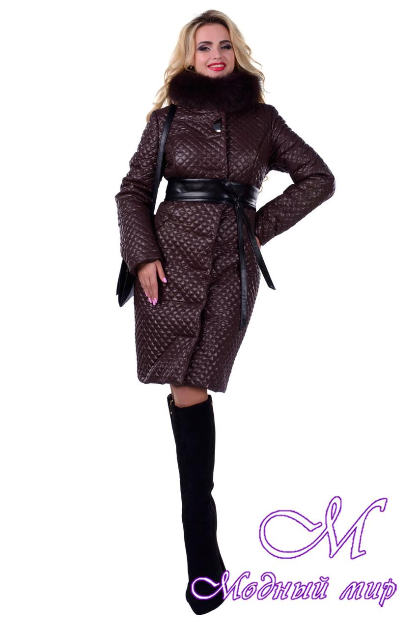 Стеганное женское пальто с мехом (р. S, M, L) арт. Андрия песец зима 6651