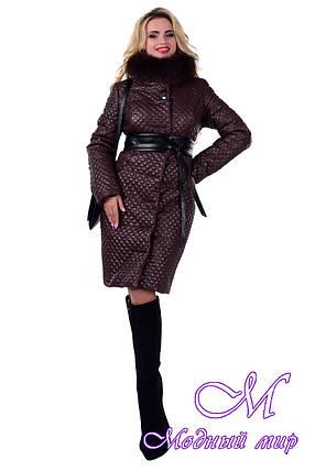 Стеганное женское пальто с мехом (р. S, M, L) арт. Андрия песец зима 6651, фото 2