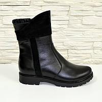 Женские кожаные зимние ботинки на низком ходу,декорированы замшевыми вставками. 37,41 размеры