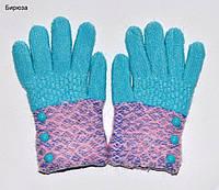Перчатки Пуговки размер S. 6-9 лет. Горчица, желтый, пепельно-роз