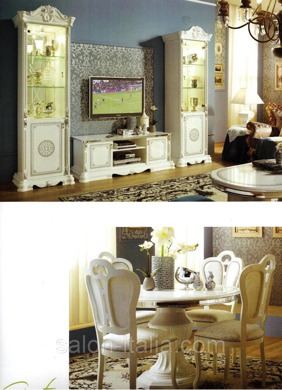 Меблі для вітальні Greta: Вітрина, тумба ТБ, столи, стільці