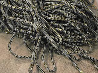 Шнур декоративный круглый серый с люрексом (100м)