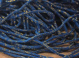 Шнур декоративный круглый синий с люрексом (100м)