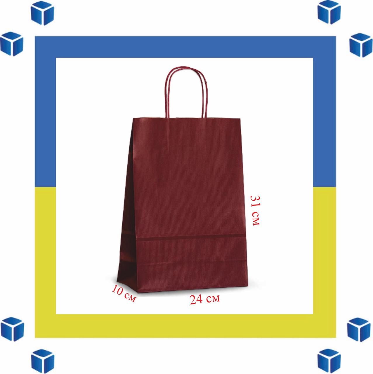 Бумажный пакет с витыми ручками красный (240мм/100мм/310мм)