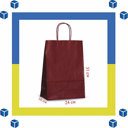 Бумажный пакет с витыми ручками красный (240мм/100мм/310мм), фото 2