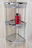 Полка угловая 3-яр.в ванную комнату(латунь/хром)Aviso