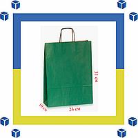 Бумажный пакет с витыми ручками зеленый(240мм/100мм/310мм)