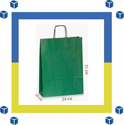 Бумажный пакет с витыми ручками зеленый(240мм/100мм/310мм), фото 2