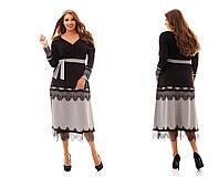 Женское красивое платье MIDI больших размеров с кружевом 1017 (р.48-62)