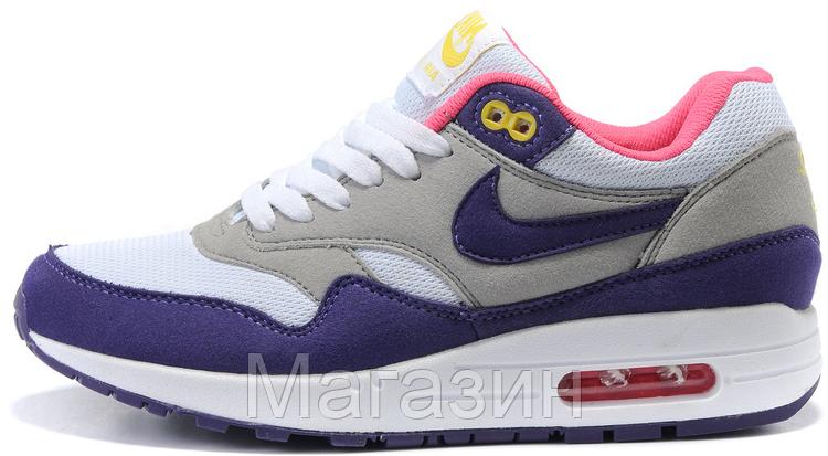 9238aa13a7b2 Женские Кроссовки Nike Air Max 87 Найк Аир Макс 87 Белые фиолетовые ...