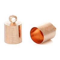 Зажим-концевик для ожерелья, Цинковый сплав, Цилиндр, Розово-золотой, 11мм x 7мм