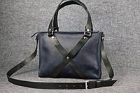 Женская кожаная сумка Крестик ХXL | Синий Винтаж, фото 1