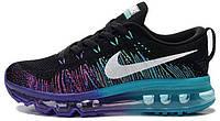 "Женские кроссовки Nike Air Max Flyknit ""Black/White-Purple Venom-Tribe Green"" (найк аир макс флайнит) черные"