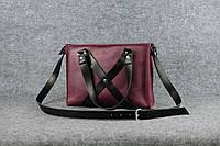 Женская кожаная сумка Крестик ХXL | Винтажный Бордо