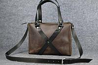Женская кожаная сумка Крестик ХXL | Винтажный Кофе, фото 1