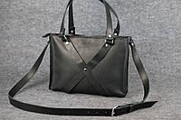 Женская кожаная сумка Крестик ХXL   Черный Краст, фото 1