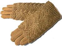 Перчатки и митенки 2 в 1 очень красивые коричневые