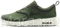 Женские кроссовки Nike Air Max Thea Premium Green Найк Аир Макс хаки