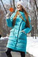 Стеганое пальто прямого силуэта с удлиненной спинкой Рива