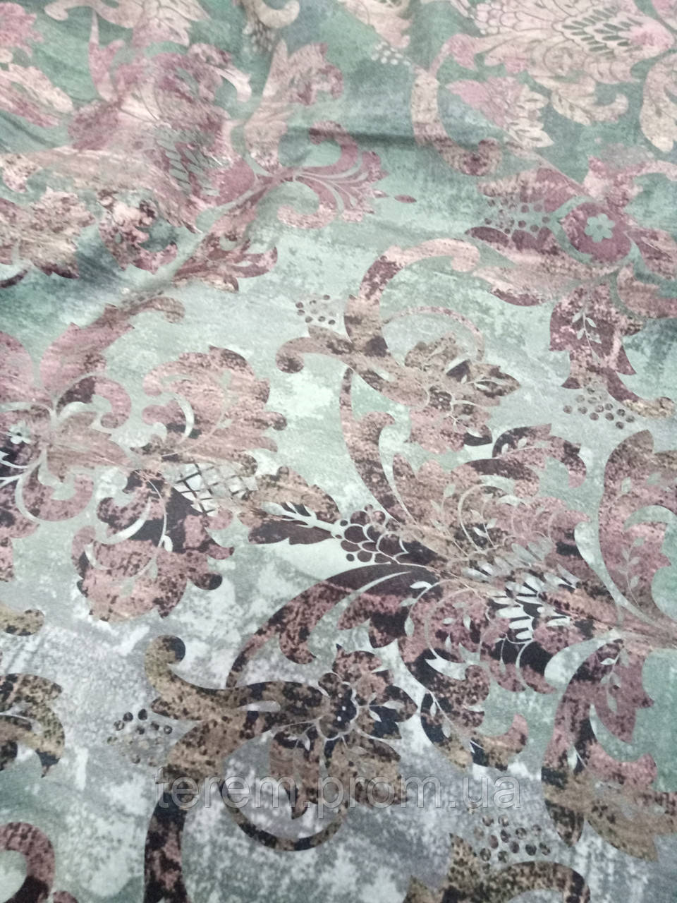 """Ткань для штор, принт на бархате """"Дамаск"""", 140 см, Турция"""