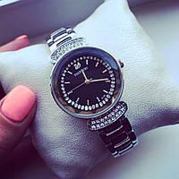 Часы женские Сваровски серебро+черный циферблат