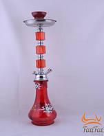 Кальян 52 см на одну персону красного цвета с узором на колбе
