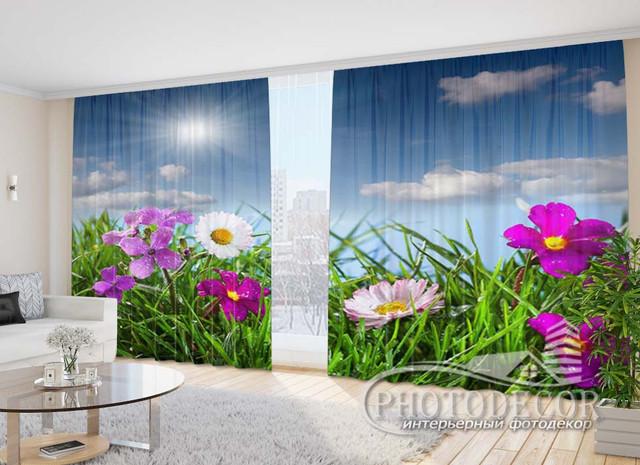 Фото шторы с Цветами 2,70м*4,0м (карниз 4,0м)