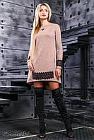 Теплое персиковое женское платье 2381 Seventeen 42-48 размеры