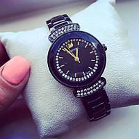 Часы женские реплика Сваровски черный+черный циферблат