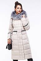 Модный зимний пуховик  Амина удлиненный с мехом чернобурка