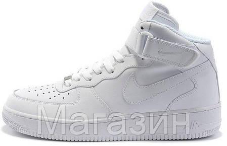 Женские высокие кроссовки Nike Air Force High высокие Найк Аир Форс белые, фото 2