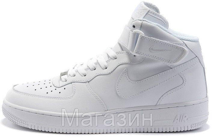 Женские высокие кроссовки Nike Air Force High высокие Найк Аир Форс белые