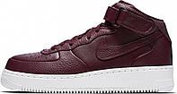 Женские высокие кроссовки NikeLab Air Force 1 Mid, Найк Аир Форс бордовые
