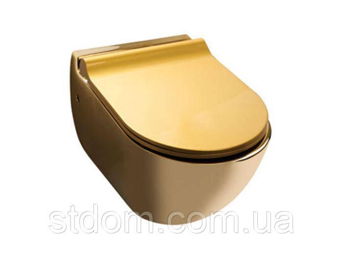 Подвесной унитаз Newarc 3823G золотой с сиденьем Soft-close