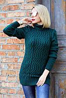 Женский теплый вязанный свитер 1719 (2 цвета), женский свитер под горло