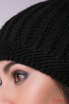 Женская черная вязаная шапка, фото 2