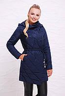 Стеганное пальто с вышивкой демисезонное до колена на холлофайбере с поясом и капюшоном 44,46,48,50,52