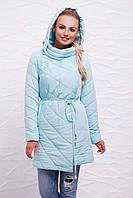 Стеганная куртка демисезонная до колена на холлофайбере голубая с поясом и капюшоном 44,46,48,50,52