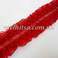 Кружевная декоративная резинка, 3,5см, цвет марсала