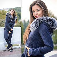Костюм женский стильный кофта с натуральным мехом на капюшоне и брюки трикотаж косичка разные цвета Dslip672
