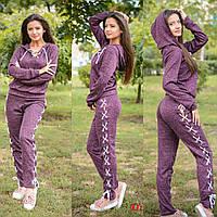 Костюм женский стильный со шнуровкой свитшот и брюки ангора с люрексом разные цвета Dslip673, фото 1