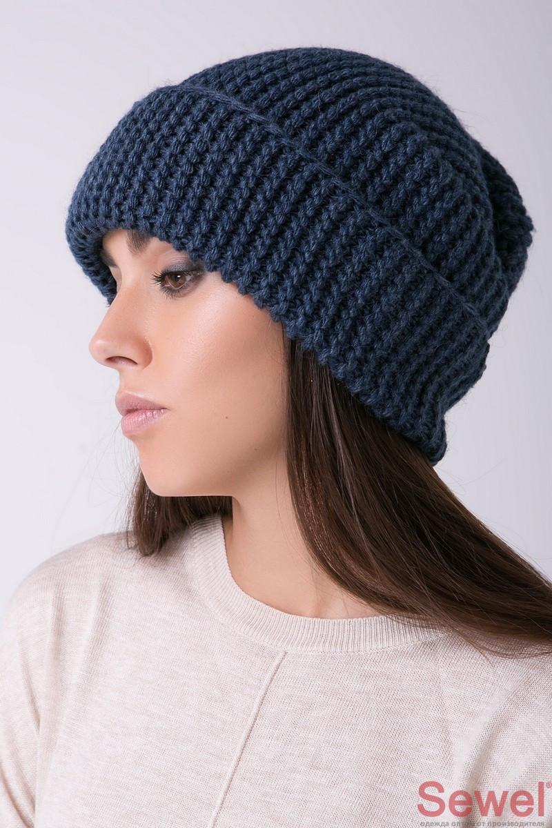 Вязаная теплая женская шапка