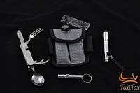 Туристический набор - нож, ложка, вилка, компас, фонарик в чехле