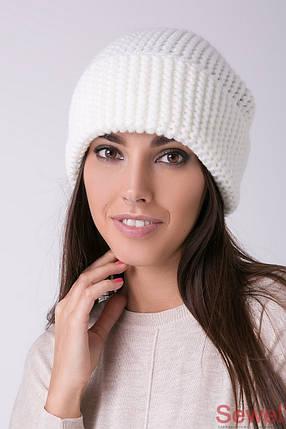 Белая зимняя женская шапка, фото 2