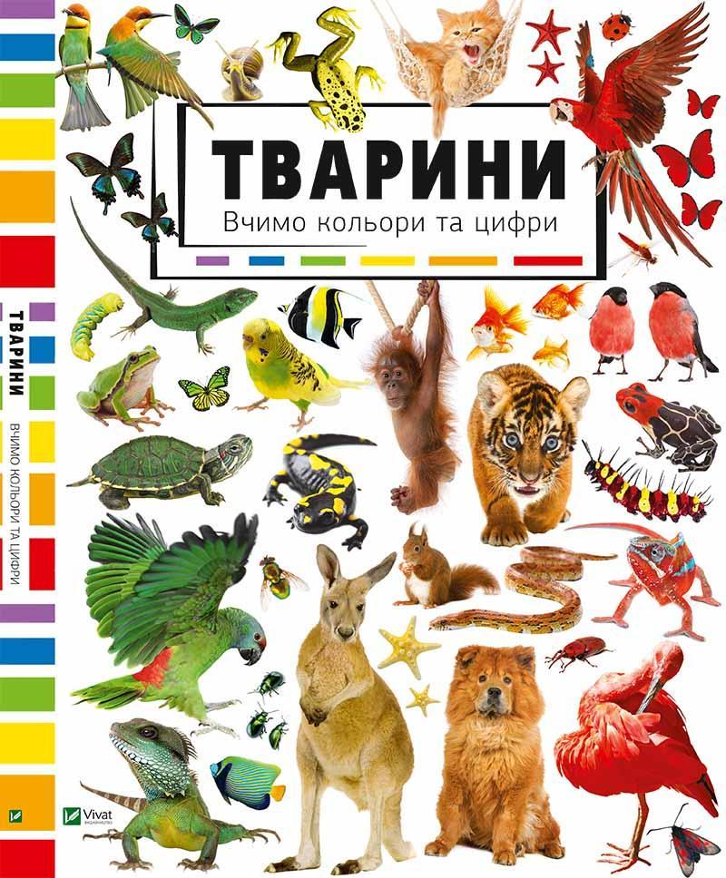 Книга в картинках Тварини Вивчаємо кольори і цифри Подарункова
