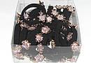 Бесшовная резинка для волос с цветами и стразами d 5 см , фото 3