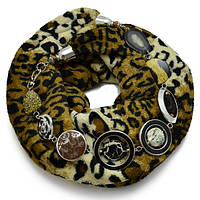 Шарф меховой с бижутерией Леопард