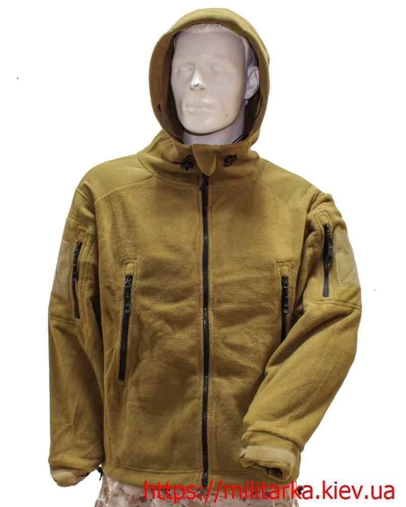 Флисовая кофта Tactical Shell с капюшоном койот